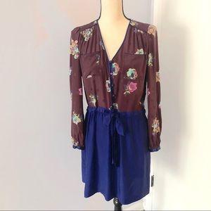 Rebecca Taylor Floral Silk Tie Waist Dress